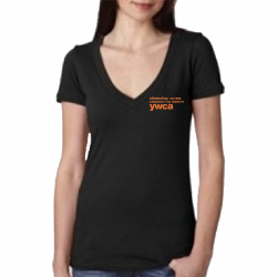 YWCA Ladies Black Deep V Neck Tee